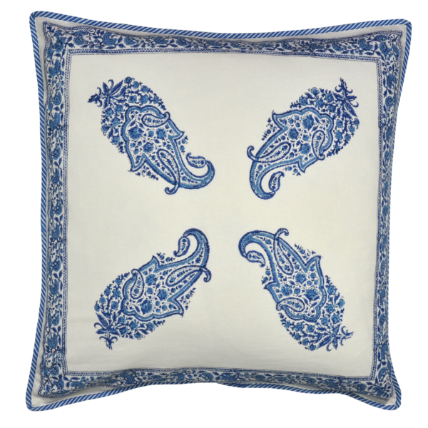 pillow front paisley  blue