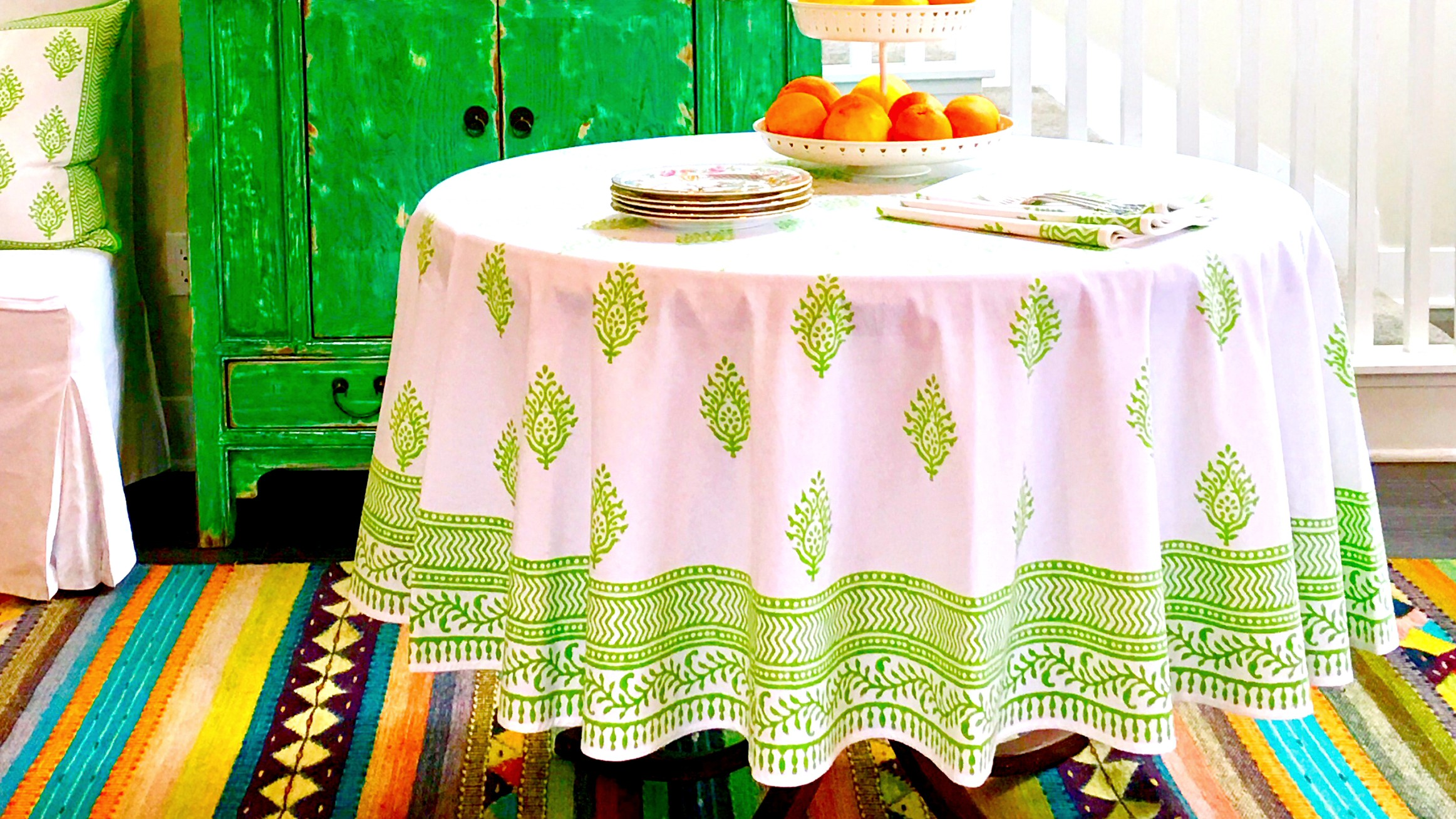 maria lime tablecloth
